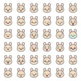 Visage mignon d'émotion de lapin dans le divers expession, ligne editable icône illustration stock