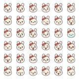 Visage mignon d'émotion de lapin dans le divers expession, ligne editable icône illustration de vecteur
