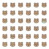 Visage mignon d'émotion d'ours dans le divers expession, ligne editable icône illustration stock