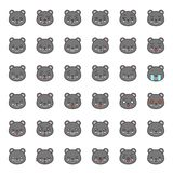 Visage mignon d'émotion d'ours dans le divers expession, ligne editable icône illustration libre de droits