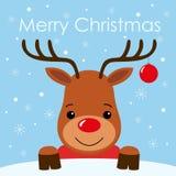 Visage mignon de cerfs communs de bande dessinée avec la conception plate de carte de fond de Joyeux Noël de klaxon illustration stock