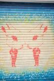 Visage modèle tiré par la main d'art de rue de portrait Image stock