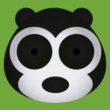 Visage noir et blanc mignon d'ours de bande dessinée de vecteur d'isolement Photographie stock