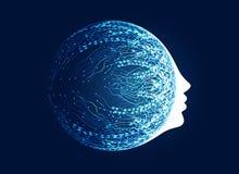 visage numérique avec le concept de réseau de circuit pour l'apprentissage automatique a illustration de vecteur