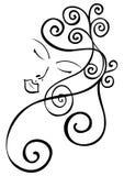 Visage paisible de femme avec le cheveu ondulé Photographie stock libre de droits