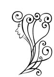 Visage paisible de femme avec le cheveu ondulé Image libre de droits