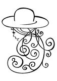 Visage paisible de femme avec le long cheveu ondulé dans un chapeau Images stock