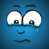 Visage pleurant de bande dessinée illustration de vecteur