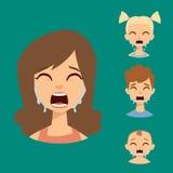 Visage pleurant réglé d'émoticônes de vecteur d'illustration de caractères d'avatars de surprise de choc de crainte de personnes illustration stock