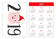 Visage porcin de porc mignon Santa Hat Année de la disposition de calendrier de poche nouvelle 2019 simples La semaine commence d illustration libre de droits