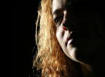 Visage proche vers le haut d'une jeune fille Photographie stock libre de droits
