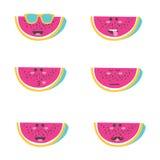 Visage réglé d'émoticône de sourire en pastèque Photo stock