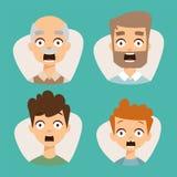 Visage réglé d'émoticônes de vecteur beau d'illustration de caractères d'avatars de surprise de choc de crainte de personnes illustration de vecteur