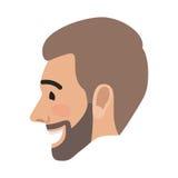 Visage réussi heureux d'homme d'avatar d'émotion Vecteur illustration de vecteur