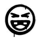 Visage riant d'icône de graffiti dans le noir au-dessus du blanc Images libres de droits