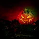 Visage riant effrayant fantasmagorique de potiron découpé par lanterne de Jack O Photographie stock