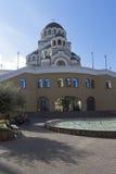 Visage saint de temple du Christ le sauveur au lever de soleil dans le règlement Adler, Sotchi Images stock