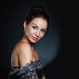 Visage de femme de mode, modèle sensuel de fille de beauté Regard naturel studio, d'isolement Photographie stock