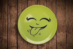 Visage souriant heureux de bande dessinée de plat coloré de plat Photo libre de droits