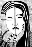 visage surréaliste noir et blanc de fille Photos stock