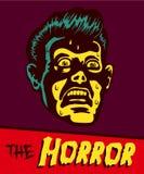 Visage terrifié d'homme d'illustration de bande dessinée de vintage Images stock