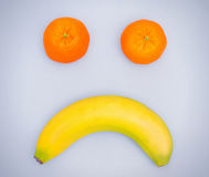 Visage triste de fruit Photos libres de droits