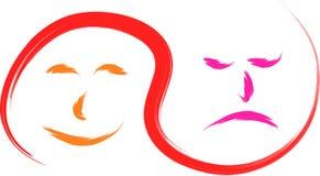 Visage triste heureux Images libres de droits