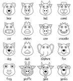 Visages animaux de bande dessinée de coloration réglés [1] Photo stock
