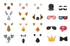 Visages animaux drôles, masques de bande dessinée, filtres de photo pour l'ensemble visuel de vecteur d'application de chat de té Photo libre de droits