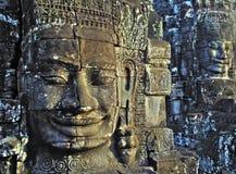 Visages au wat d'angkor. Images libres de droits