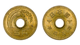 Visages avant et arrières de pièce de monnaie de cinq Yens japonais Photo libre de droits