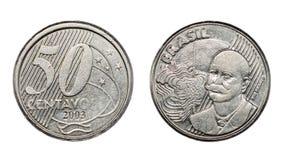 Visages avant et arrières de vraie pièce de monnaie brésilienne de cinquante cents image libre de droits