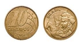 Visages avant et arrières de vraie pièce de monnaie brésilienne de Dix cents Photographie stock