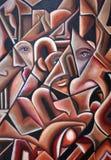 Visages cachés par dessin-modèle initial de cubisme Photo libre de droits