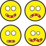 Visages d'émoticône avec des expressions de pillule Photos libres de droits