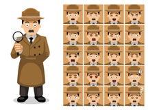 Visages d'émotion de personnage de dessin animé d'Old Man Unifrom de détective illustration libre de droits