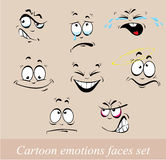Visages d'émotions de bande dessinée réglés Photo stock