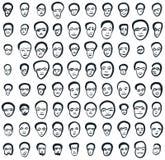 Visages d'encre réglés de quatre-vingts icônes Photo libre de droits