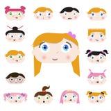 Visages d'enfant de dessin animé Photo libre de droits