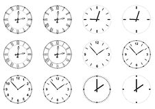 Visages d'horloge Photos libres de droits