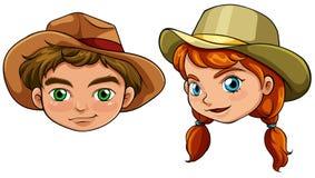 Visages d'un garçon et d'une fille Illustration Stock