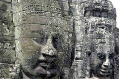 Visages de Bouddha au temple de Bayon photographie stock