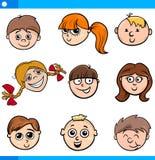 Visages de caractères d'enfants de bande dessinée réglés illustration stock