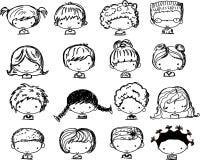 Visages de dessin animé des enfants, vecteur Image libre de droits