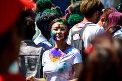 Visages de festival de Holi Photos stock