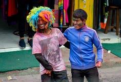 Visages de festival de Holi Photographie stock