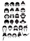 26 visages de fille dans la version noire et blanche illustration libre de droits
