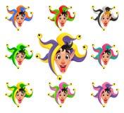 Visages de joker dans différentes couleurs Image libre de droits