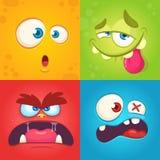 Visages de monstre de bande dessinée réglés Ensemble de vecteur de quatre visages de monstre de Halloween avec différentes expres Images stock