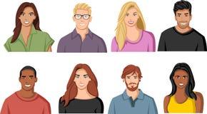 Visages de personnes de bande dessinée illustration libre de droits